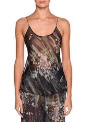 Armani Floral Scoop-Neck Silk Shell  Multi