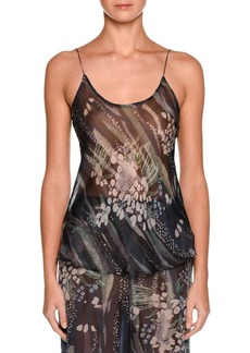Armani Floral Scoop-Neck Silk Shell