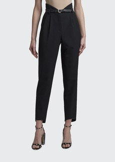 Giorgio Armani Gabardine High-Waisted Belted Trousers
