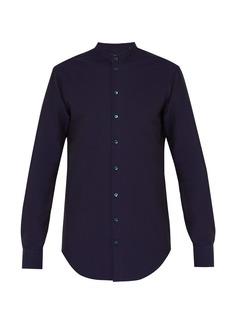 Giorgio Armani Grandad-collar seersucker-cotton shirt
