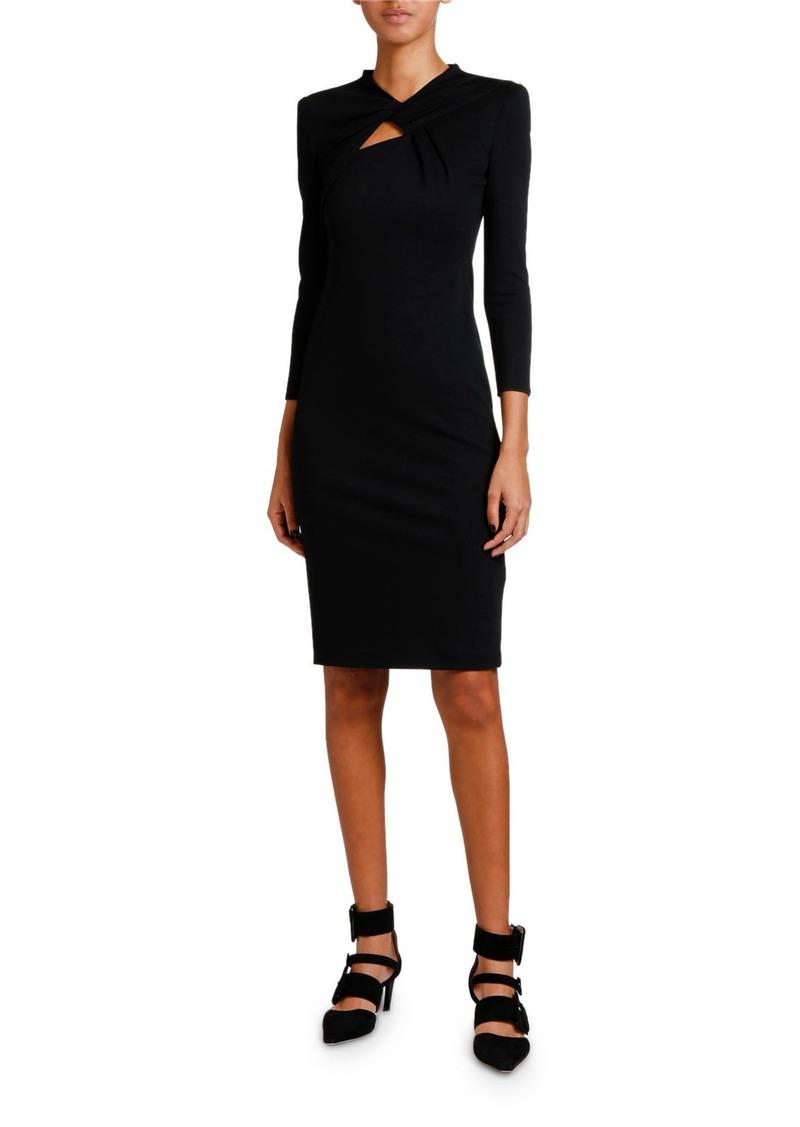 Giorgio Armani Keyhole-Front 3/4-Sleeve Milano Jersey Dress