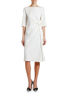 Giorgio Armani Knotted Techno Cady 1/2-Sleeve Dress