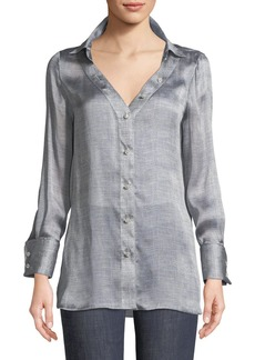 Armani Long-Sleeve Button-Front Mulberry Silk Blouse