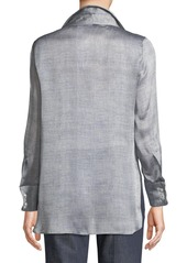 a005233a6331e ... Armani Long-Sleeve Button-Front Mulberry Silk Blouse