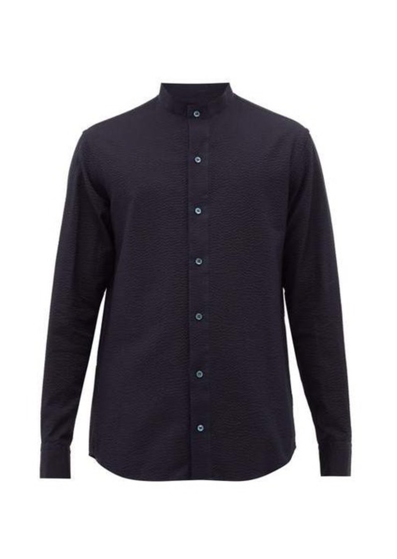 Giorgio Armani Mandarin-collar seersucker-cotton shirt