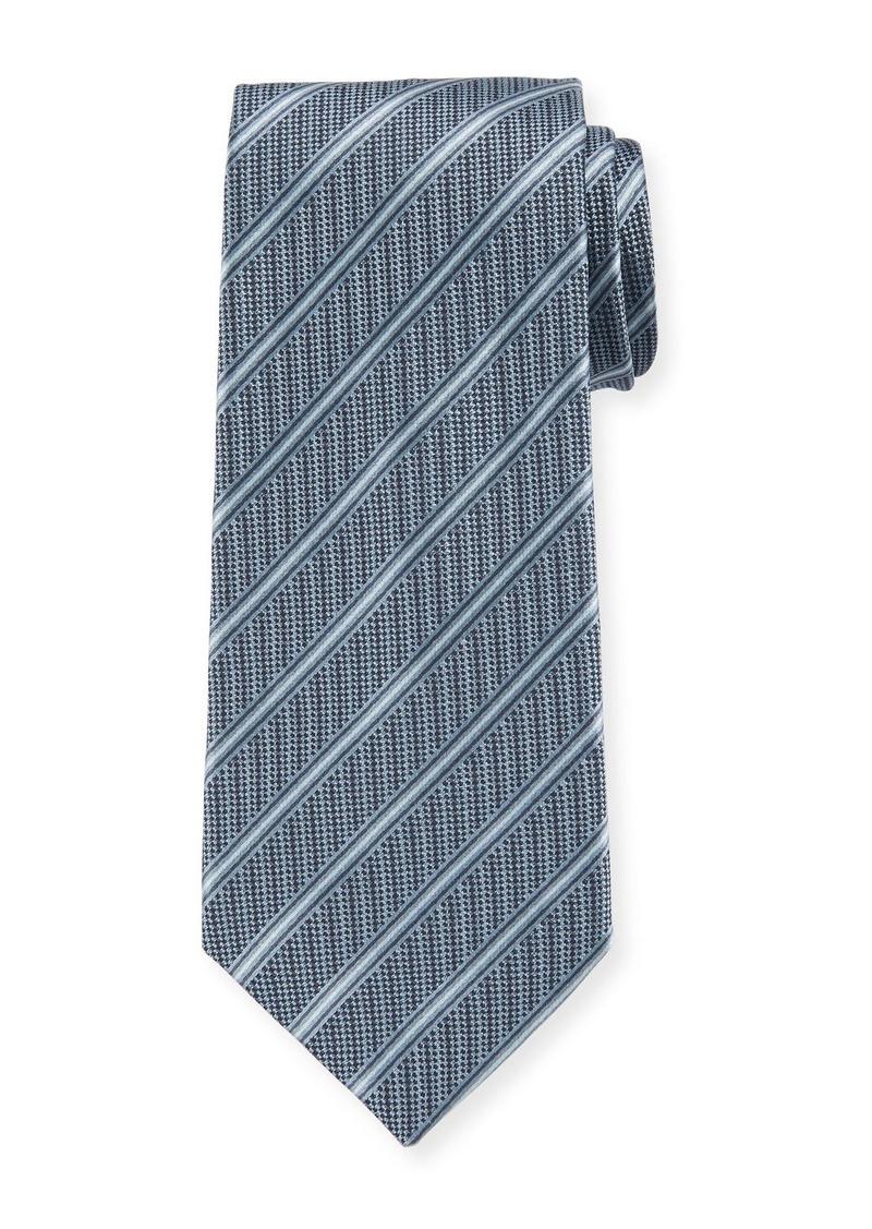 Giorgio Armani Men's Striped Woven Jacquard Tie  Turquoise