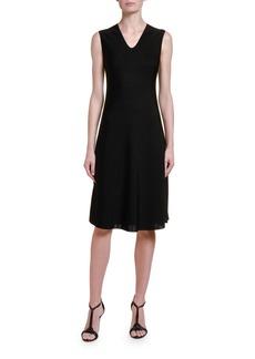 Giorgio Armani Ottoman-Knit V-Neck Dress