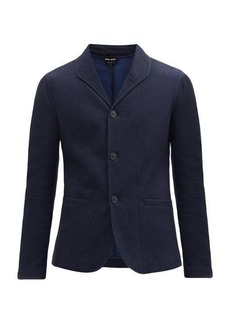 Giorgio Armani Pinhead-jacquard cotton-blend twill blazer