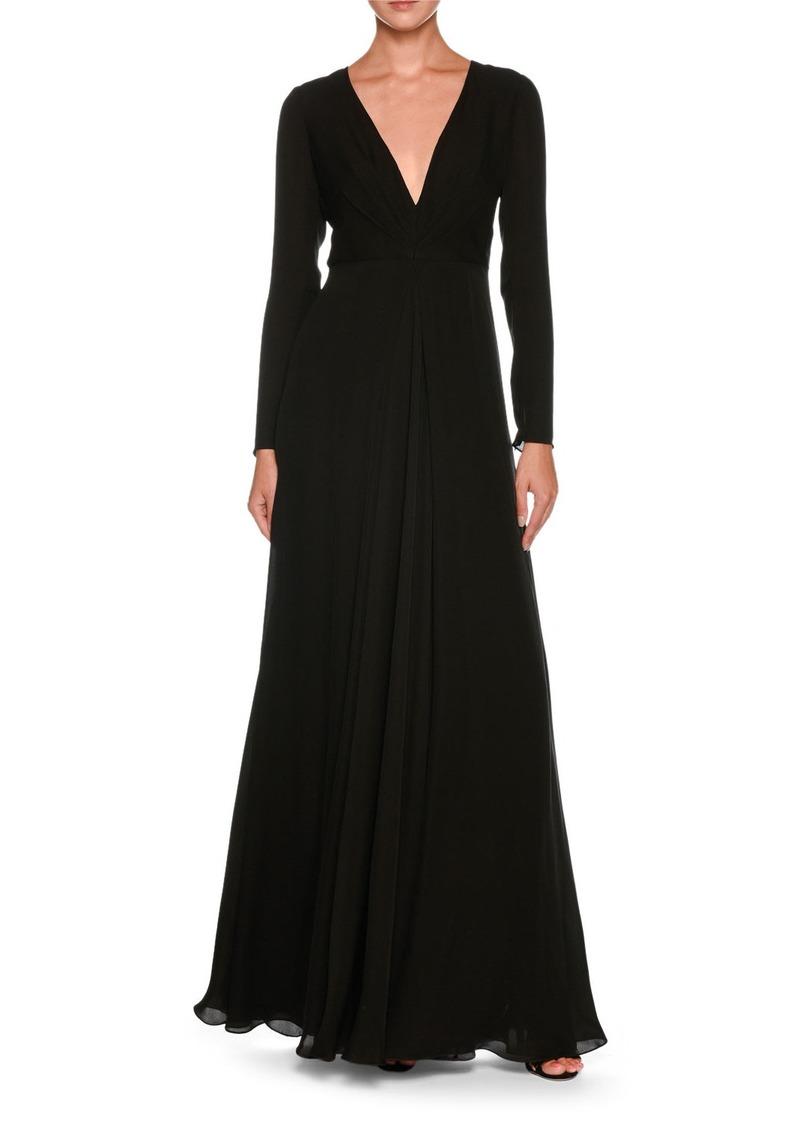 Armani Plunging Long-Sleeve Silk Cady Floor-Length Dress