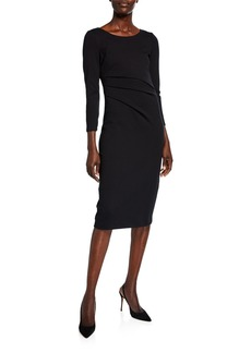Giorgio Armani Round-Neck Ruched Jersey Dress  Black