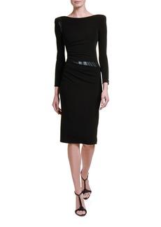 Giorgio Armani Ruched Jersey Leather-Waist Dress