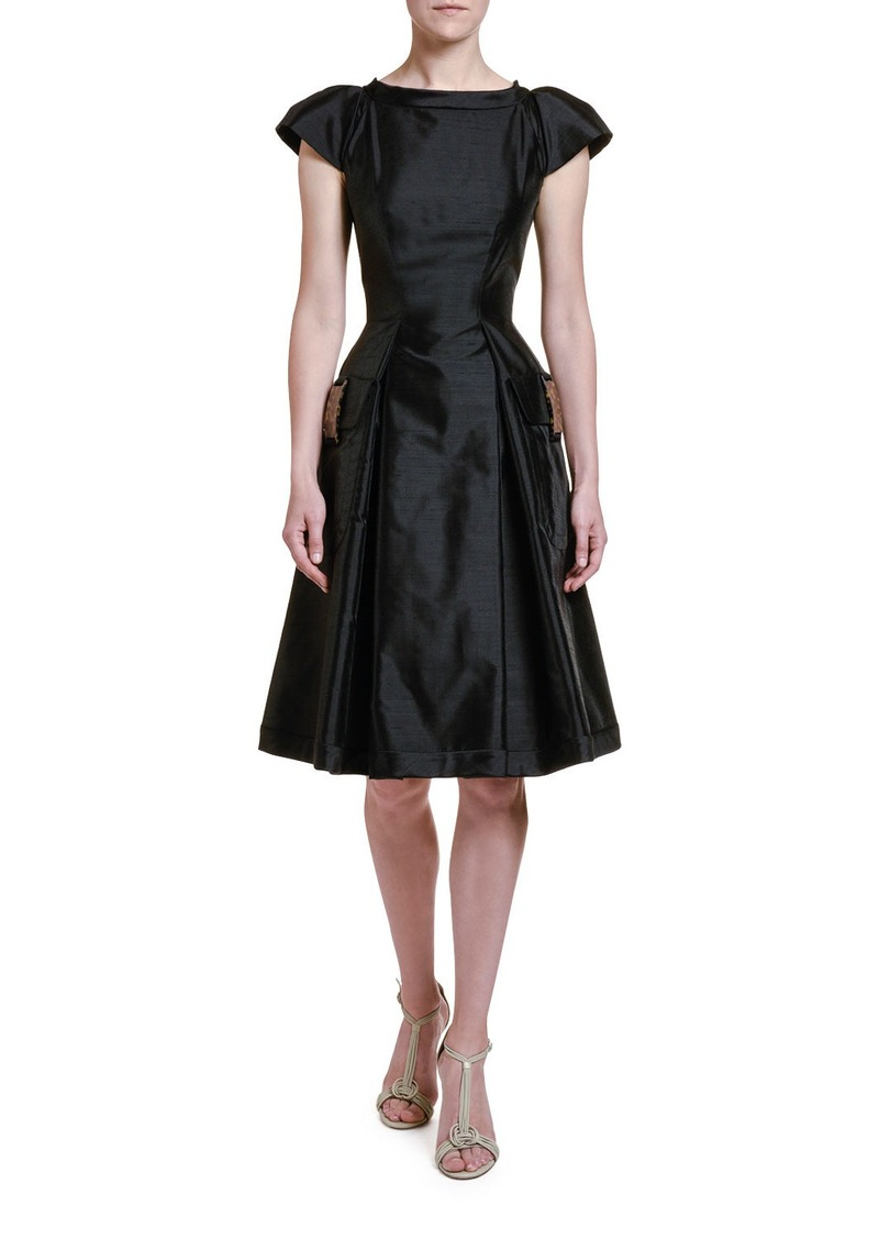 Giorgio Armani Shantung Lady Dress with Tortoise Shell Trim