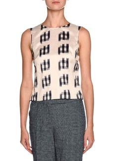 Armani Shantung Sleeveless Tie-Back Blouse