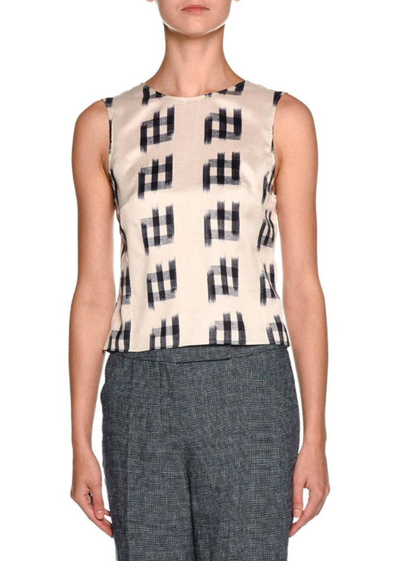Armani Shantung Sleeveless Tie-Back Blouse  White/Black