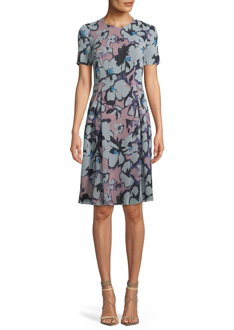 Giorgio Armani Short-Sleeve Ruched-Side Floral Print Dress