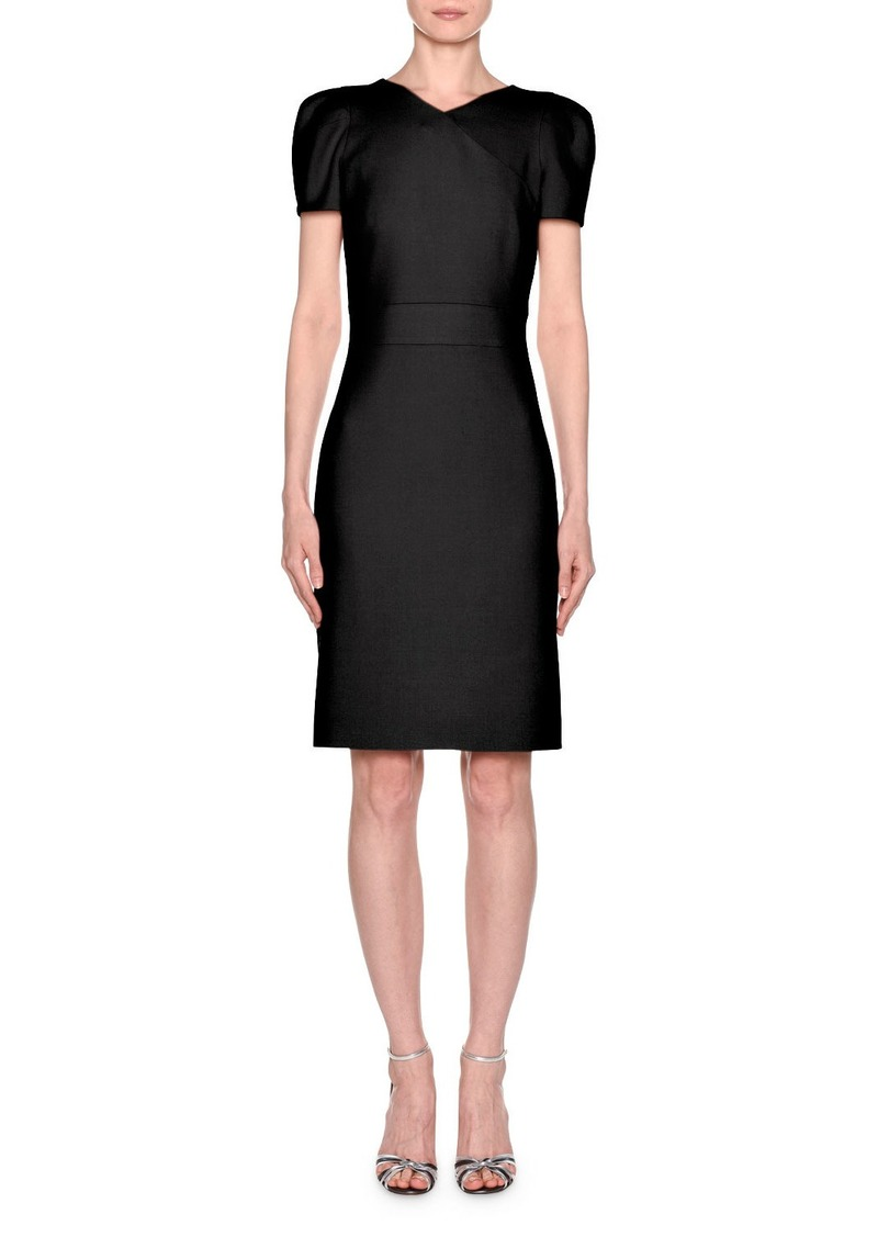 Giorgio Armani Short-Sleeve Wool Crepe V-Neck Dress  Black