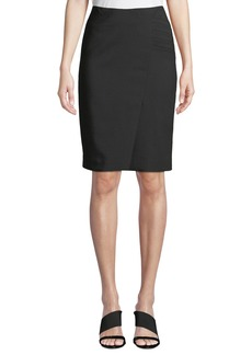 Giorgio Armani Side-Ruched Slit-Hem Pencil Skirt