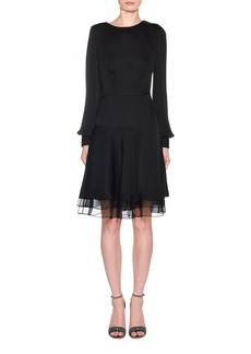 Giorgio Armani Silk Charmeuse Long-Sleeve Dress