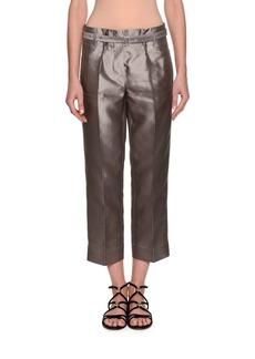 Armani Silk Shantung Wide-Leg Cropped Pants