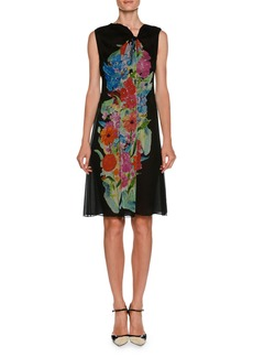 Armani Sleeveless A-Line Silk Chiffon Dress w/ Floral-Print