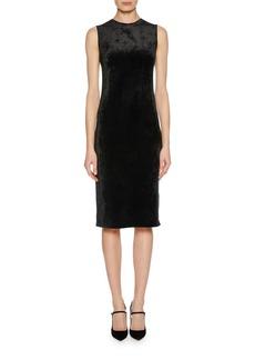 Giorgio Armani Sleeveless Jersey Velvet Fused Fitted Dress