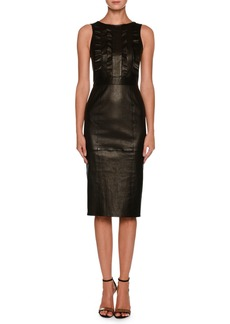 Giorgio Armani Sleeveless Lamb Leather Tea-Length Dress w/ Ruffle Detail