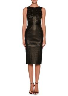 Giorgio Armani Sleeveless Lamb Leather Tea-Length Dress w/ Ruffle Detail