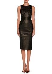 Armani Sleeveless Lamb Leather Tea-Length Dress w/ Ruffle Detail