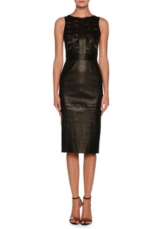 Armani Sleeveless Lamb Leather Tea-Length Dress w/ Ruffle Detail