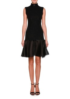 Armani Sleeveless Mock-Neck Sequin Cocktail Dress with Flounce Hem