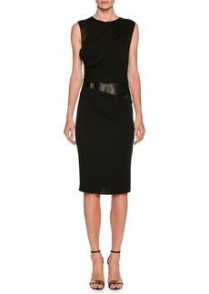 Armani Sleeveless Side-Ruched Sheath Jersey Dress w/ Leather Panel