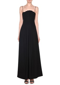 Giorgio Armani Strappy Velvet Asymmetric-Neck Gown with Pockets