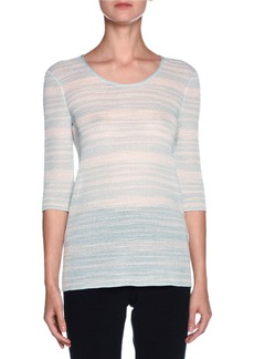 Armani Striped 3/4-Sleeve Scoop-Neck Sweater