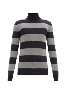 Giorgio Armani Striped herringbone wool-blend sweater