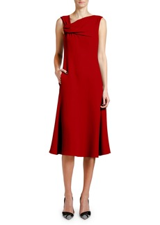 Giorgio Armani Techno Crepe Asymmetric-Neck Dress