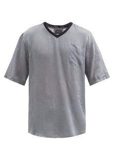 Giorgio Armani V-neck oversized seersucker T-shirt