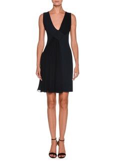 Armani V-Neck Sleeveless Crepe Short Dress w/ Chiffon Ruching