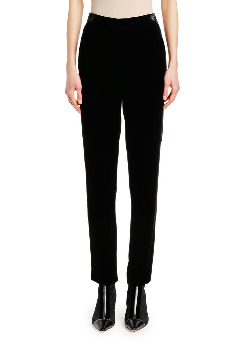 Giorgio Armani Velvet-Waist Straight-Leg Pants