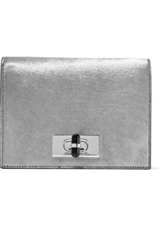 Giorgio Armani Woman Calliope Mini Metallic Calf Hair And Mirrored-leather Shoulder Bag Silver