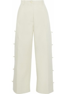 Giorgio Armani Woman Cropped Knotted Cotton And Silk-blend Wide-leg Pants Beige