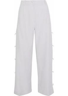 Giorgio Armani Woman Cropped Knotted Crepe Wide-leg Pants Light Gray