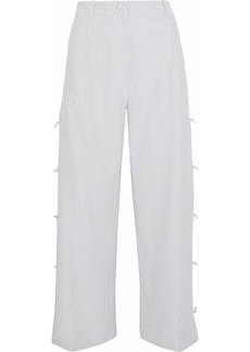 Giorgio Armani Woman Cropped Knotted Crepe Wide-leg Pants Light Gray