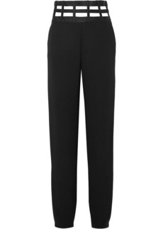 Giorgio Armani Woman Cutout Satin-trimmed Silk-crepe Straight-leg Pants Black
