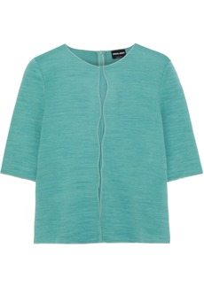 Giorgio Armani Woman Mesh-trimmed Ribbed Wool-blend Top Jade