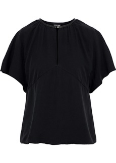Giorgio Armani Woman Leather-trimmed Silk Blouse Black