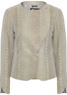 Giorgio Armani Woman Metallic Snake-effect Suede Jacket Neutral