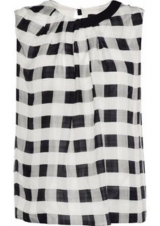Giorgio Armani Woman Pleated Gingham Silk-chiffon Blouse Off-white
