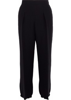 Giorgio Armani Woman Pleated Silk-crepe Straight-leg Pants Black