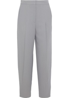 Giorgio Armani Woman Pleated Stretch-crepe Tapered Pants Gray
