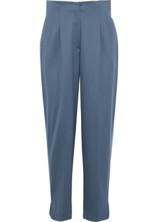 Giorgio Armani Woman Pleated Stretch-wool Tapered Pants Storm Blue